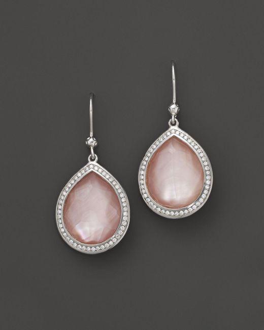 Ippolita | Sterling Silver Stella Teardrop Earrings In Pink Mother-of-pearl With Diamonds | Lyst