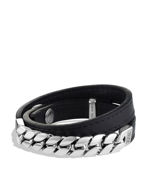 David Yurman   Metallic Chain Double Wrap Leather Bracelet for Men   Lyst