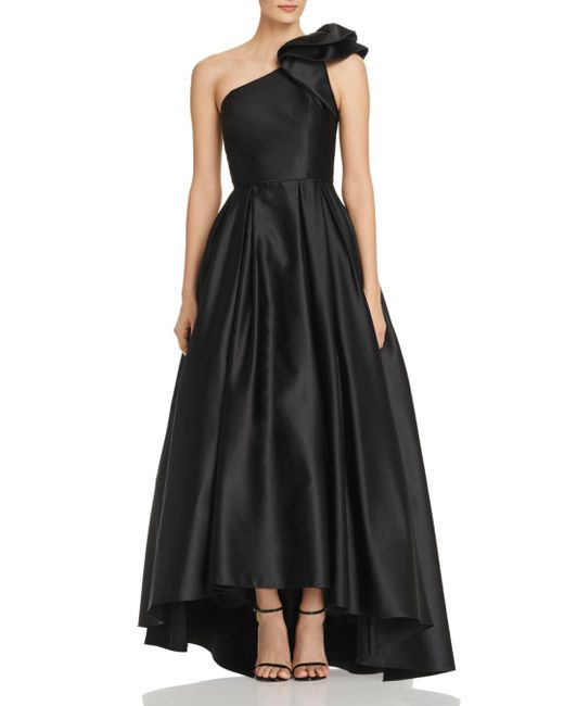 Betsy & Adam - Black One-shoulder Satin Ball Gown - Lyst