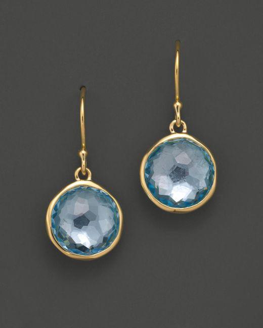 Ippolita Metallic 18k Gold Lollipop Earrings In Blue Topaz