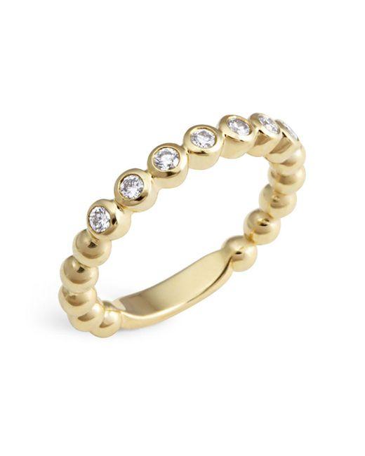 Lagos | Metallic 18k Gold Beaded And Diamond Ring | Lyst