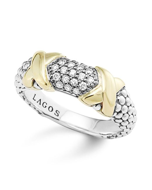 Lagos | Yellow 18k Gold And Sterling Silver Diamond Ring | Lyst