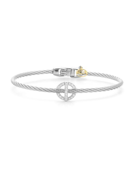 Alor - Metallic Diamond Grey Cable Bangle - Lyst