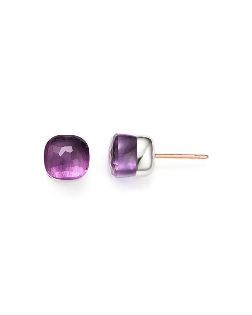Pomellato - Multicolor Nudo Earrings With Amethyst In 18k Rose And White Gold - Lyst