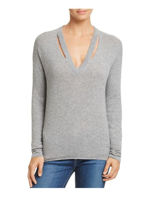 Minnie Rose | Gray Cutout Cashmere Sweater | Lyst