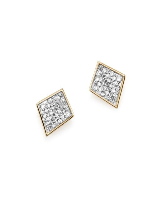 Adina Reyter - Metallic Sterling Silver And 14k Yellow Gold Pavé Diamond Folded Square Stud Earrings - Lyst