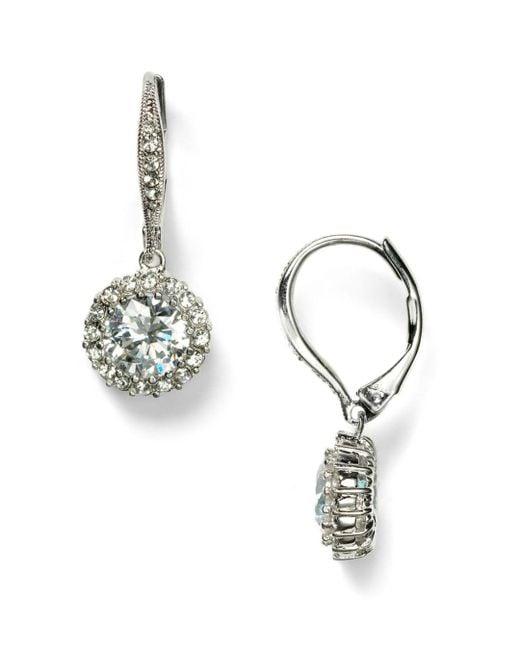 Nadri Metallic Framed Round Cubic Zirconia Drop Earrings