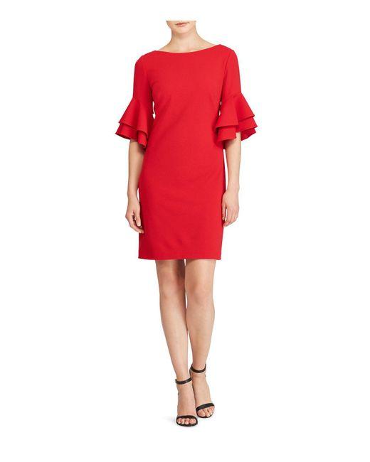Ralph Lauren | Red Lauren Ruffled Bell-sleeve Dress | Lyst