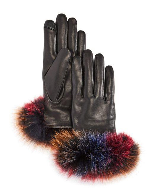 Echo - Black Fox Fur Trim Leather Tech Gloves - Lyst