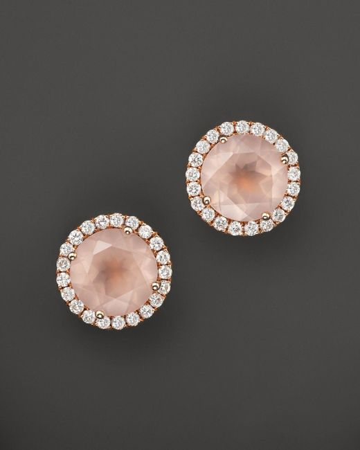 Dana Rebecca | Multicolor 14k Rose Gold, Diamond, And Pink Quartz Anna Beth Earrings | Lyst