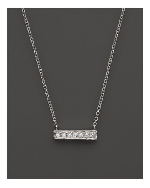 Dana Rebecca | 14k White Gold Sylvie Rose Medium Bar Necklace With Diamonds | Lyst