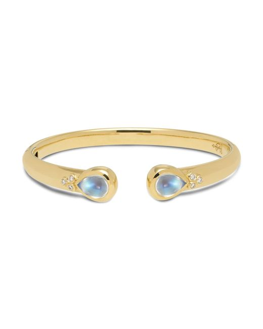 Temple St. Clair   Metallic 18k Yellow Gold Classic Hinge Bracelet With Royal Blue Moonstone And Diamonds   Lyst