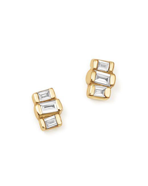 Zoe Chicco | Metallic 14k Yellow Gold Baguette Diamond Stud Earrings | Lyst