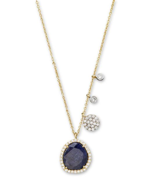 Meira T 14k Yellow Gold Blue Sapphire Necklace With Diamonds