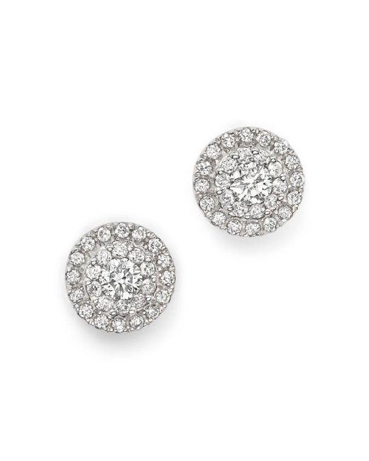 Bloomingdale's - Diamond Halo Stud Earrings In 14k White Gold, 0.75 Ct. T.w. - Lyst