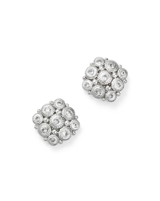 Judith Ripka | Metallic Sterling Silver Snowflake Stud Earrings With White Sapphire | Lyst