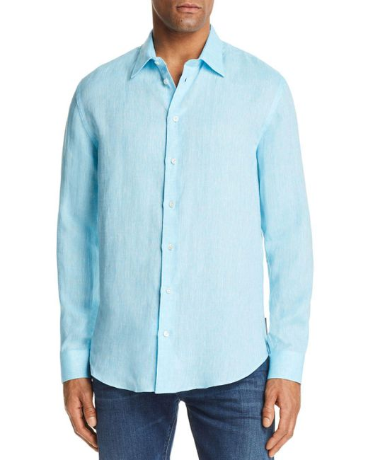 Emporio Armani - Blue Tonal Stitch Regular Fit Button-down Shirt for Men - Lyst