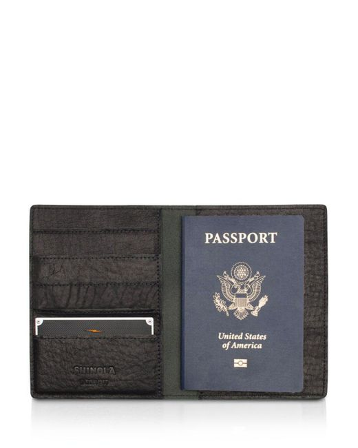 Shinola Black Leather Passport Wallet