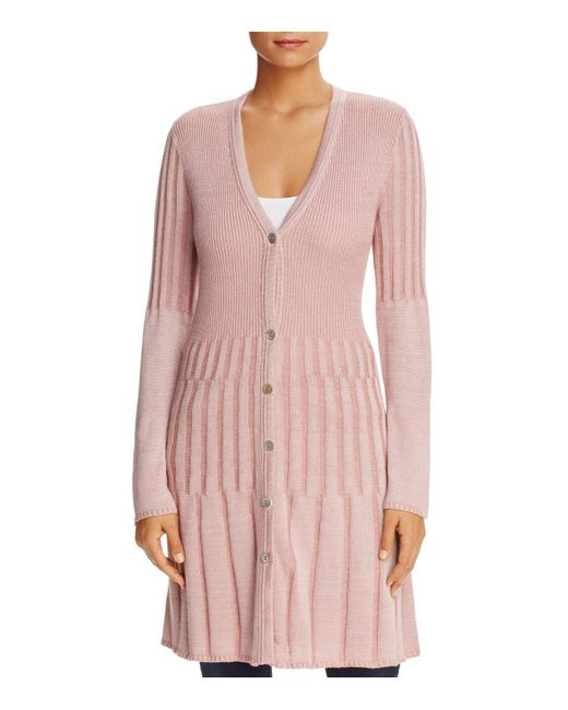 Foxcroft | Pink Ribbed Duster Cardigan | Lyst