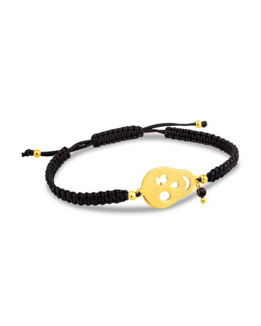 Tous | Metallic Skull & Onyx Charm Woven Cord Bracelet | Lyst