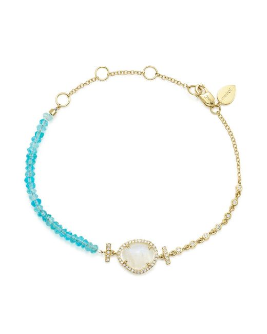 Meira T | Blue Diamond And Neon Apatite Beaded Bracelet | Lyst