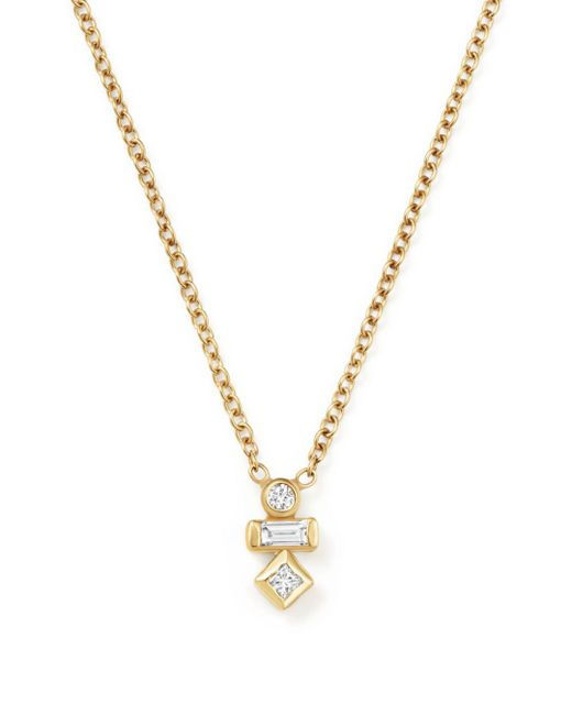 Zoe Chicco - Metallic Baguette And Round Diamond Necklace - Lyst