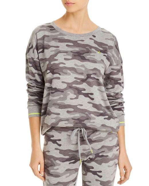 Pj Salvage Gray Neon Pop Camouflaged Print French Terry Sleep Top