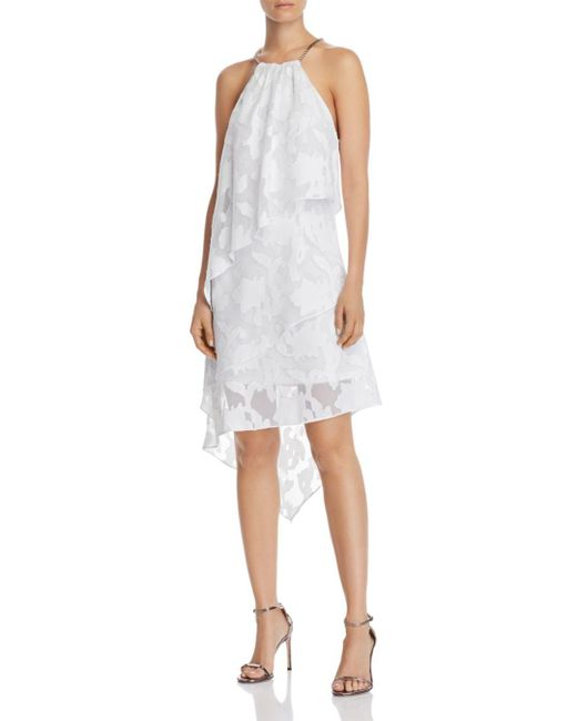 Laundry by Shelli Segal White Tiered Floral Dress