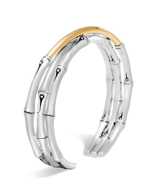 John Hardy - Metallic Brushed 18k Yellow Gold And Sterling Silver Bamboo Small Flex Cuff - Lyst