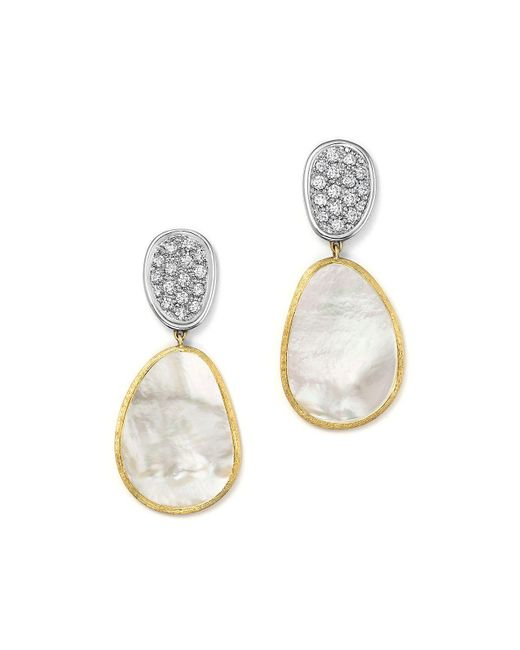 Marco Bicego   18k White & Yellow Gold Lunaria Mother-of-pearl Diamond Double Drop Earrings   Lyst