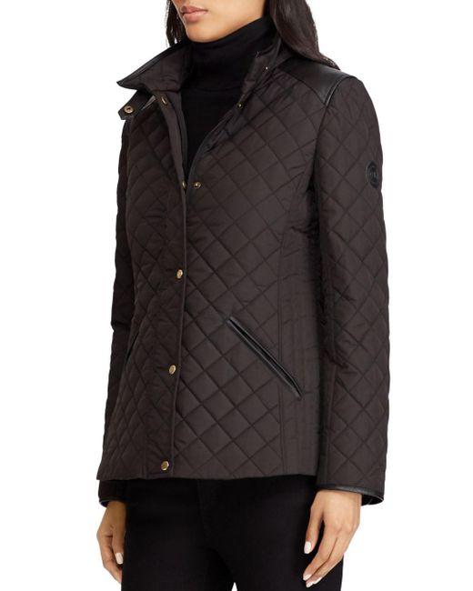 Ralph Lauren - Black Lauren Faux Leather Tab Quilted Jacket - Lyst