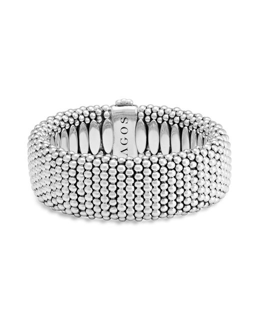 Lagos - Metallic Sterling Silver Caviar Wide Bracelet - Lyst