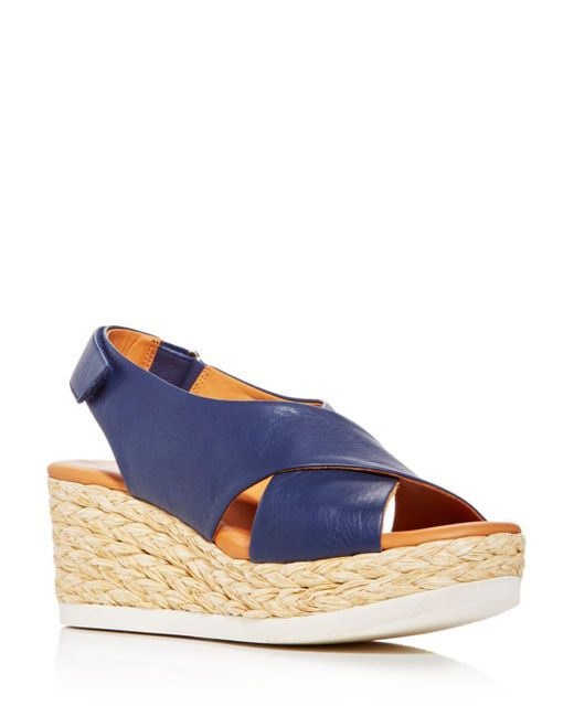 Andre Assous Blue Women's Corbella Espadrille Wedge Sandals