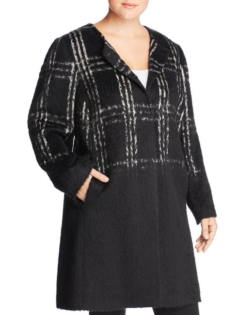 Eileen Fisher - Black Plaid Color - Block Coat - Lyst