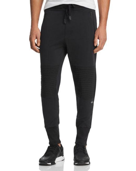 Alo Yoga Black Mixed - Media Technical Moto Jogger Pants for men