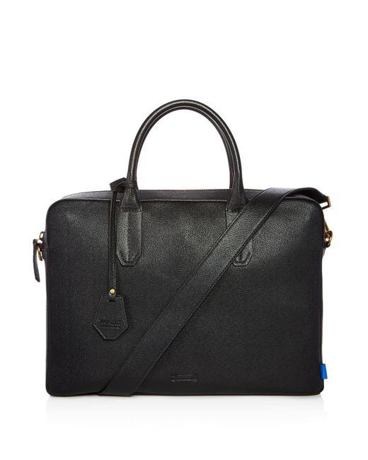 Uri Minkoff - Black Fulton Micro Caviar Textured Leather Slim Briefcase for Men - Lyst