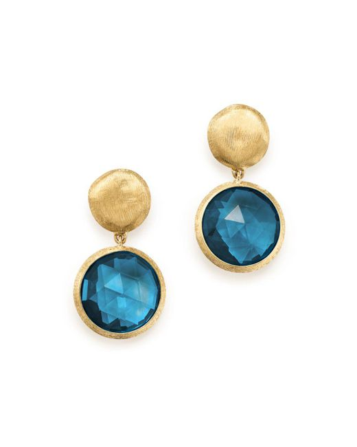 Marco Bicego - 18k Yellow Gold Jaipur London Blue Topaz Double Drop Earrings - Lyst