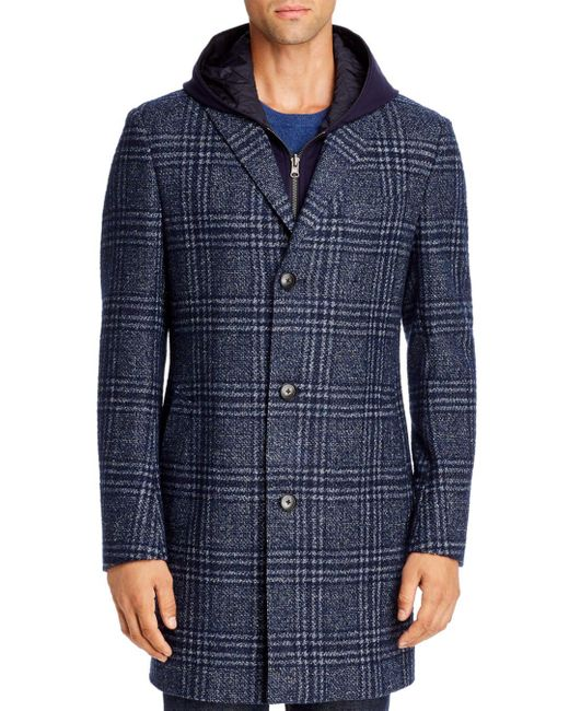 Cardinal Of Canada Blue Plaid Regular Fit Topcoat With Removable Jersey Hooded Bib for men