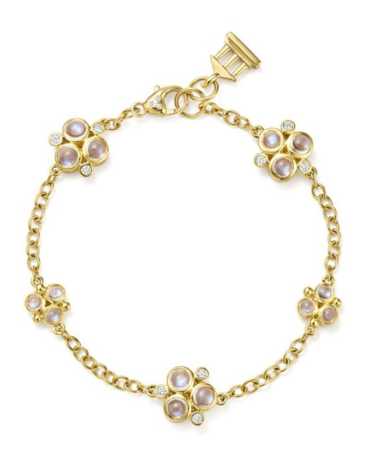 Temple St. Clair - Metallic 18k Yellow Gold Royal Blue Moonstone And Diamond Trio Bracelet - Lyst