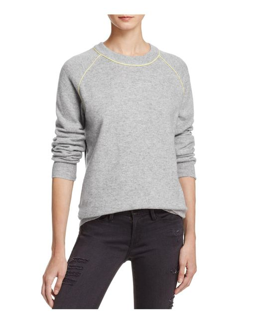 Aqua | Gray Cashmere Color-block Baseball Sweater | Lyst