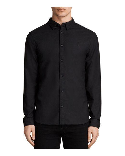 AllSaints - Black Huntingdon Long Sleeve Shirt for Men - Lyst