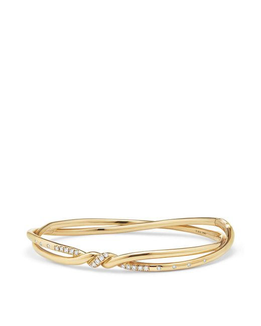 David Yurman - Metallic Continuance Center Twist Bracelet With Diamonds In 18k Gold - Lyst