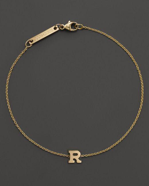 Zoe Chicco - 14k Yellow Gold Initial Bracelet - Lyst