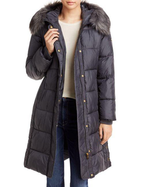 Via Spiga Gray Faux Fur Trim Hooded Puffer Coat