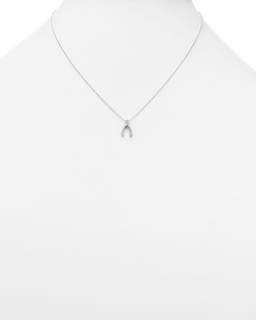 Roberto Coin Metallic 18 White Gold Wishbone Pendant Necklace With Diamonds