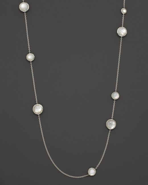 Ippolita Multicolor Sterling Silver Wonderland Multi - Round Stone Necklace In Mother - Of - Pearl Doublet