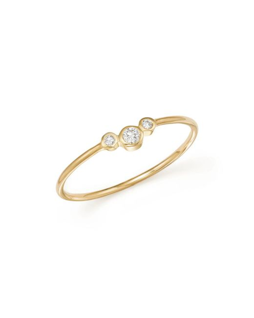 Zoe Chicco - Metallic 14k Yellow Gold Small Triple Graduated Diamond Curved Bezel Ring - Lyst