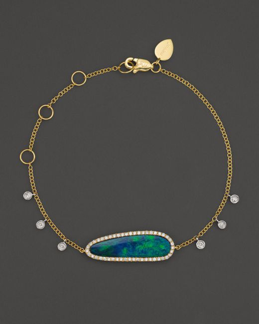Meira T - Multicolor 14k Yellow Gold Oval Blue Opal And Diamond Bracelet - Lyst