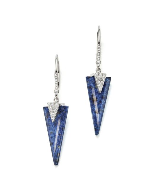 Meira T - Blue 14k White Gold And Diamond Sodolite Icicle Earrings - Lyst