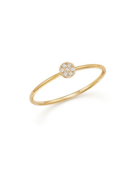 Zoe Chicco - Metallic 14k Yellow Gold Itty Bitty Round Disc Pavé Diamond Stack Ring - Lyst